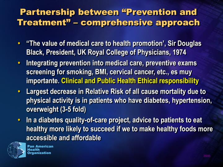 "Partnership between ""Prevention and Treatment"" – comprehensive approach"