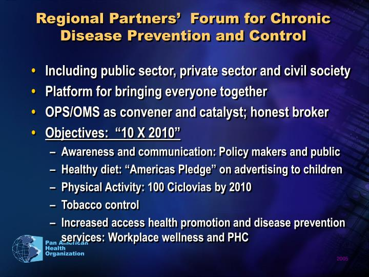 Regional Partners'  Forum for Chronic Disease Prevention and Control