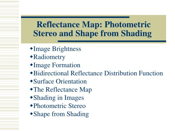 reflectance map photometric stereo and shape from shading n.
