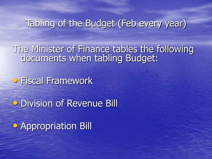 Tabling of the Budget (Feb every year)