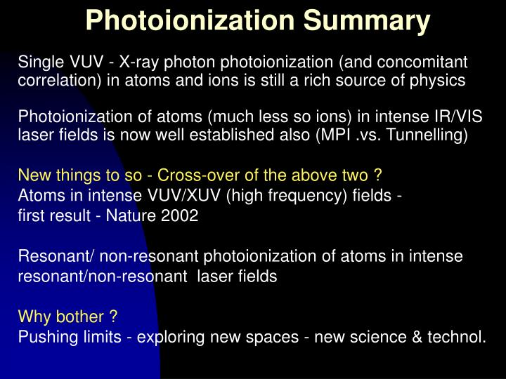 Photoionization Summary