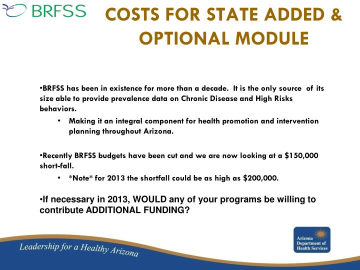 COSTS FOR STATE ADDED &