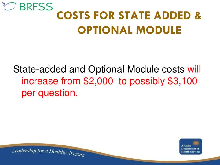 State-added and Optional Module costs