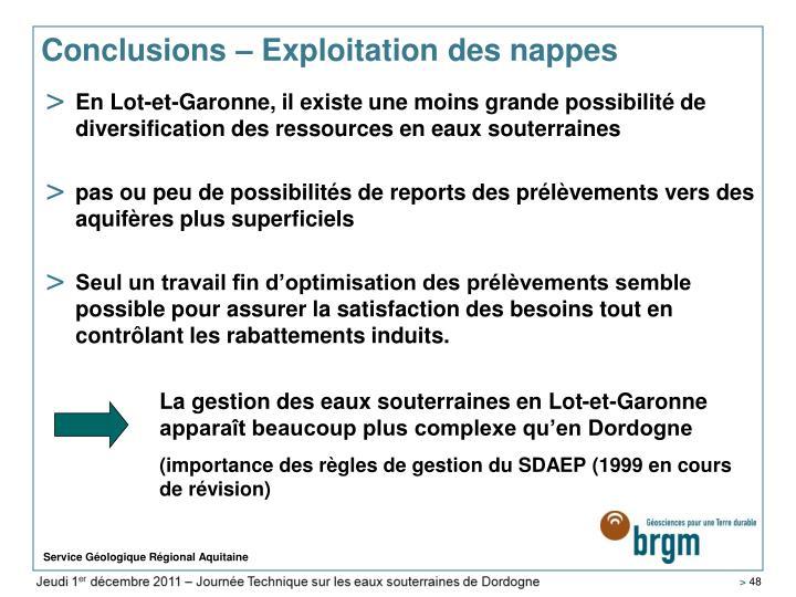La gestion des eaux souterraines en Lot-et-Garonne apparaît beaucoup plus complexe qu'en Dordogne