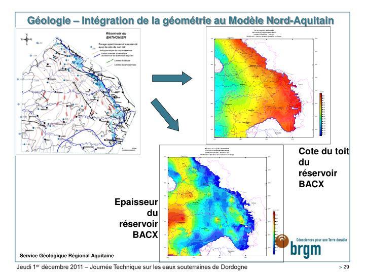 Géologie – Intégration de la géométrie au Modèle Nord-Aquitain