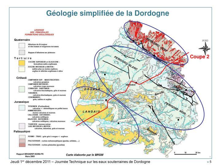 Géologie simplifiée de la Dordogne