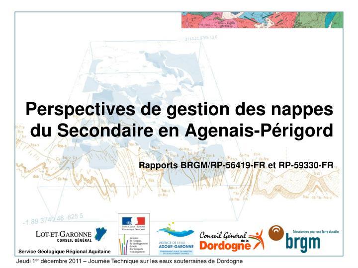 Perspectives de gestion des nappes du Secondaire en Agenais-Périgord
