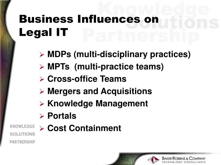 Business Influences on Legal IT