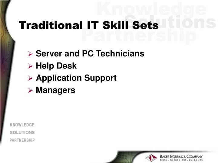 Traditional IT Skill Sets
