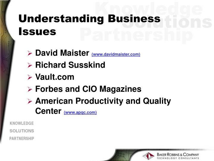 Understanding Business Issues