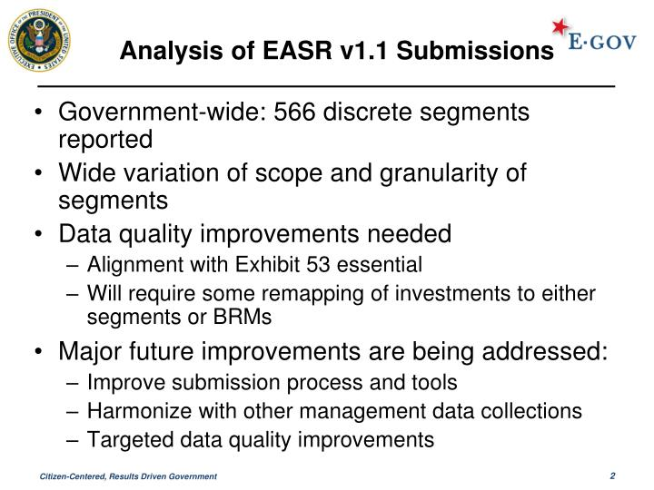 Analysis of easr v1 1 submissions