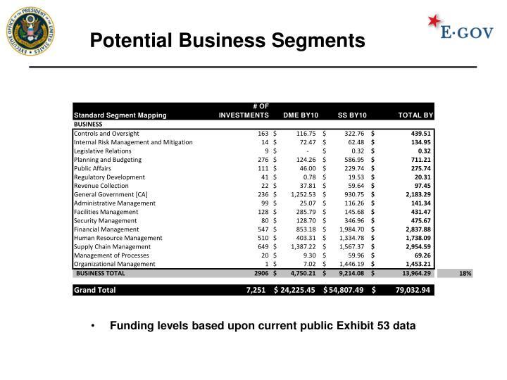 Potential Business Segments