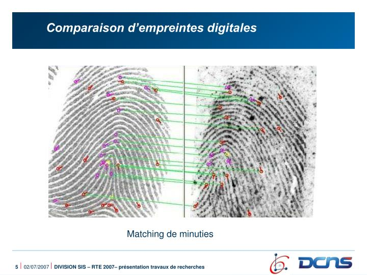 Comparaison d'empreintes digitales