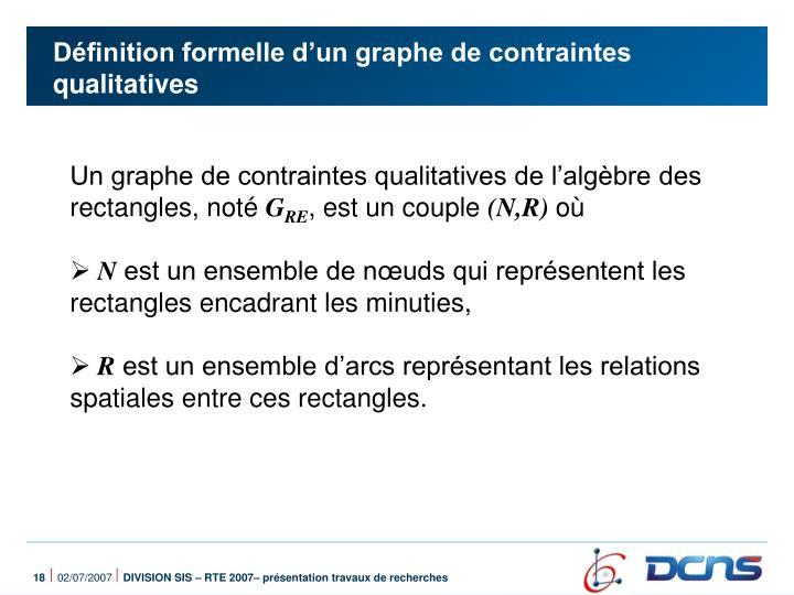Définition formelle d'un graphe de contraintes qualitatives