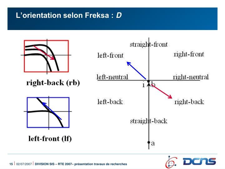 L'orientation selon Freksa :