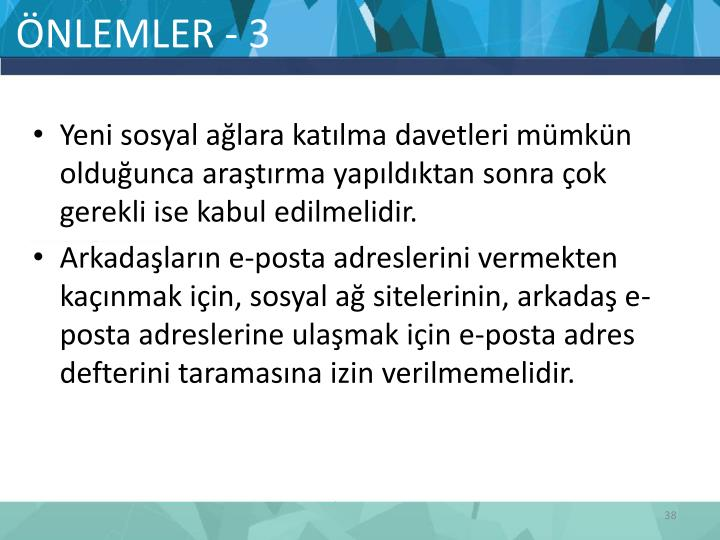 ÖNLEMLER - 3