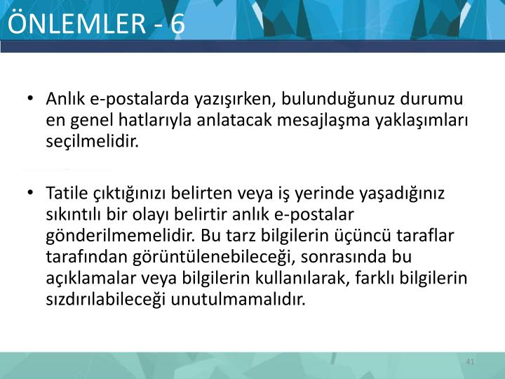 ÖNLEMLER - 6