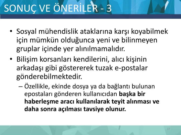 SONUÇ VE ÖNERİLER - 3