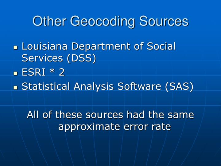 Other Geocoding Sources