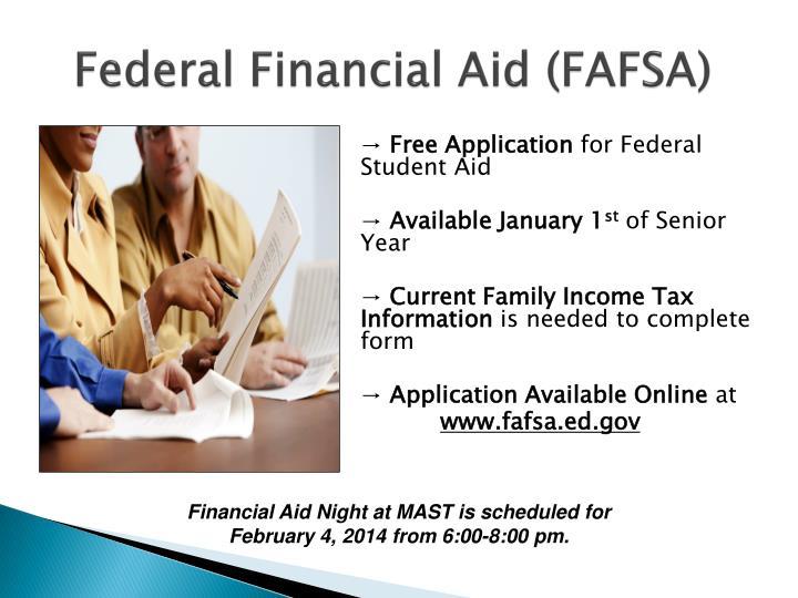 Federal Financial Aid (FAFSA)