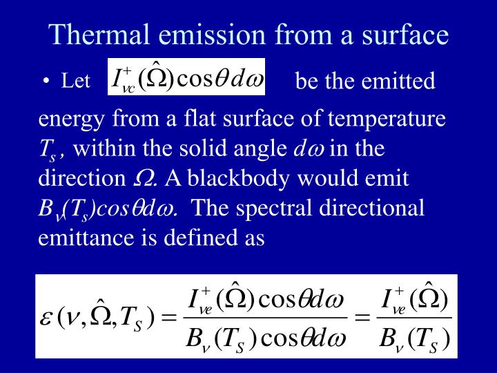 Thermal emission from a surface