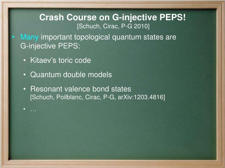 Crash Course on G-injective PEPS!
