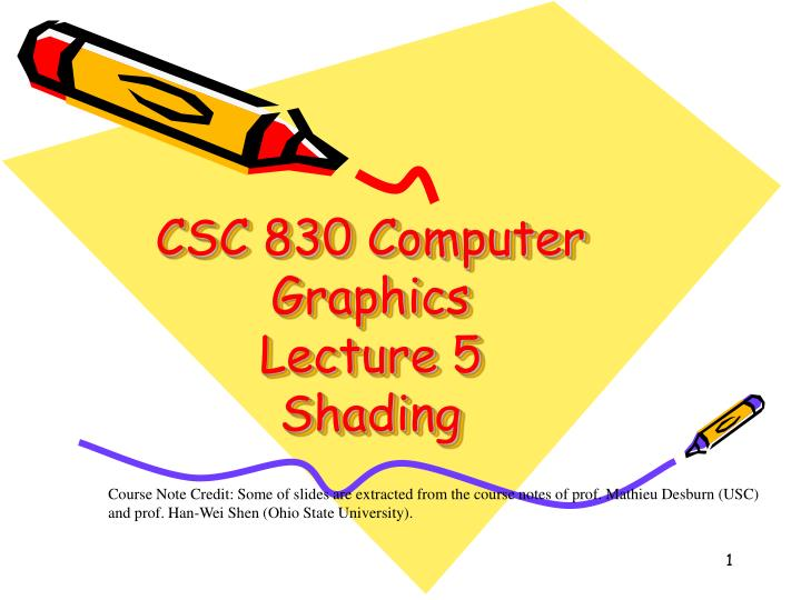 csc 830 computer graphics lecture 5 shading n.