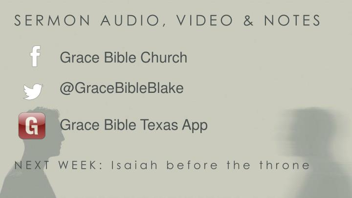 SERMON AUDIO, VIDEO & NOTES