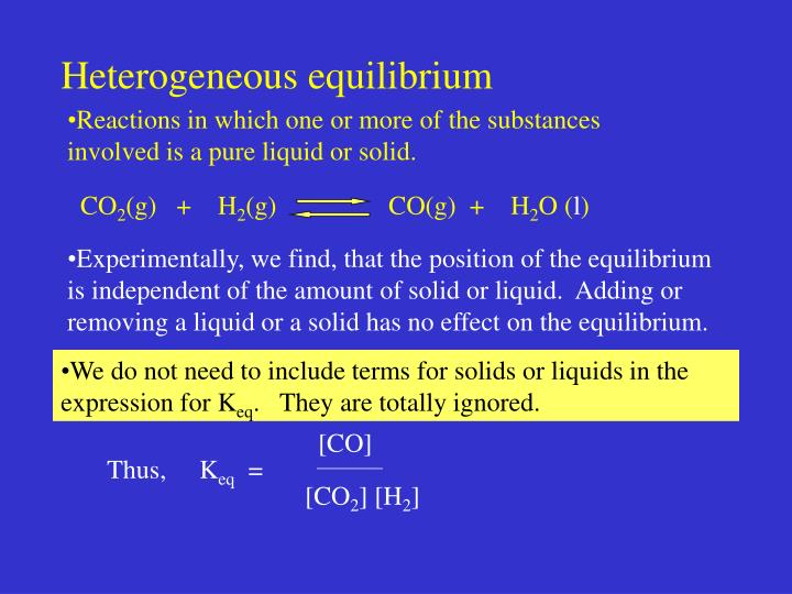 Heterogeneous equilibrium