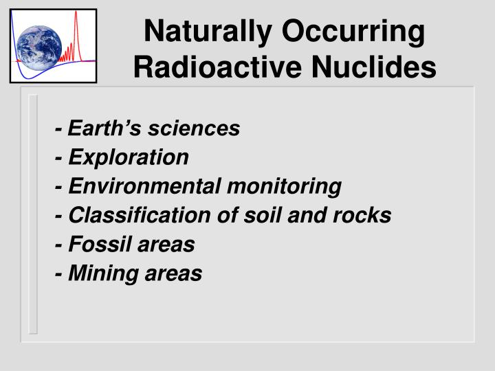 Naturally Occurring Radioactive Nuclides