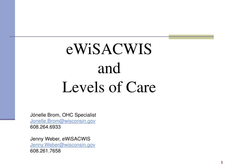 ewisacwis and levels of care n.