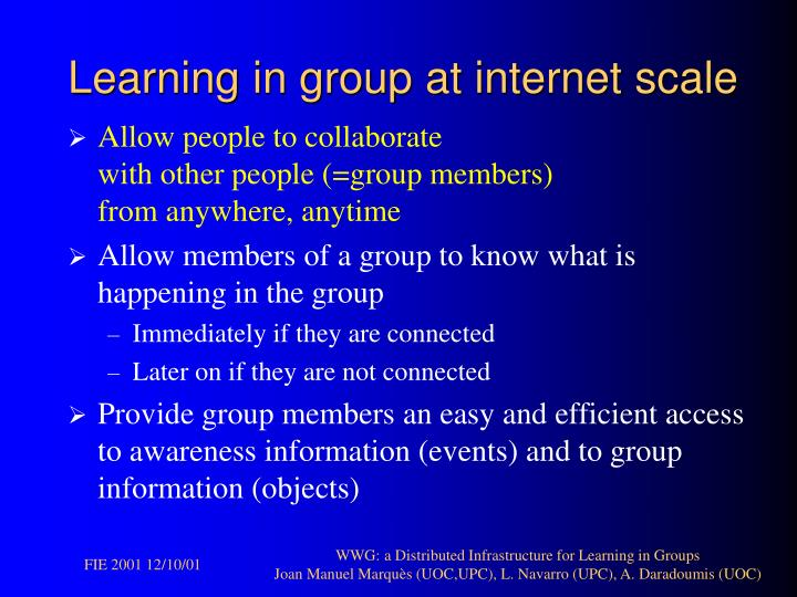 Learning in group at internet scale