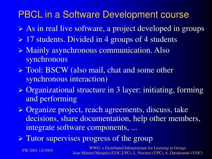PBCL in a Software Development course