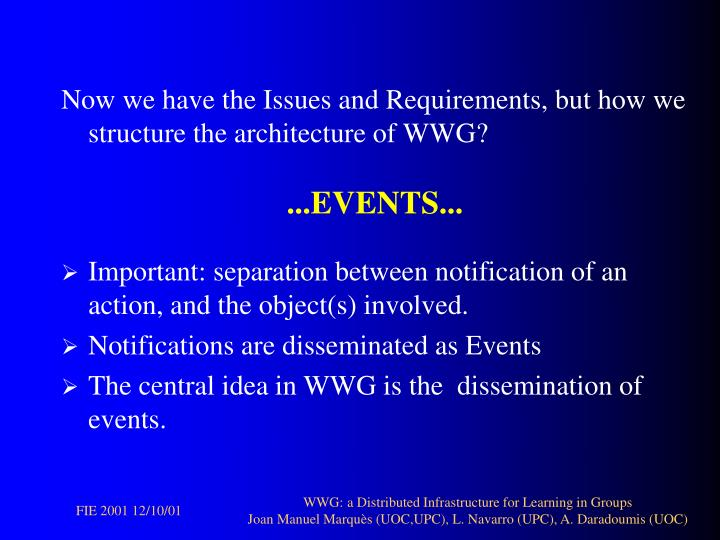 Now we have the Issues and Requirements, but how we structure the architecture of WWG?