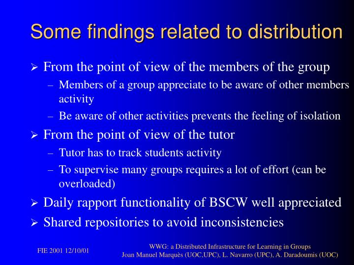 Some findings related to distribution