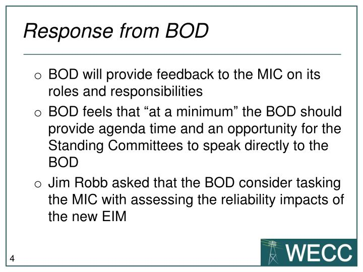 Response from BOD