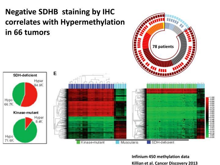 Negative SDHB  staining by IHC correlates with Hypermethylation in 66 tumors