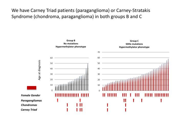 We have Carney Triad patients (paraganglioma) or Carney-Stratakis Syndrome (chondroma, paraganglioma) in both groups B and C
