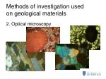 methods of investigation used on geological materials1