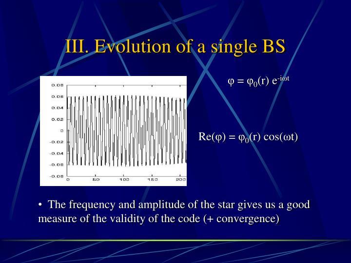 III. Evolution of a single BS