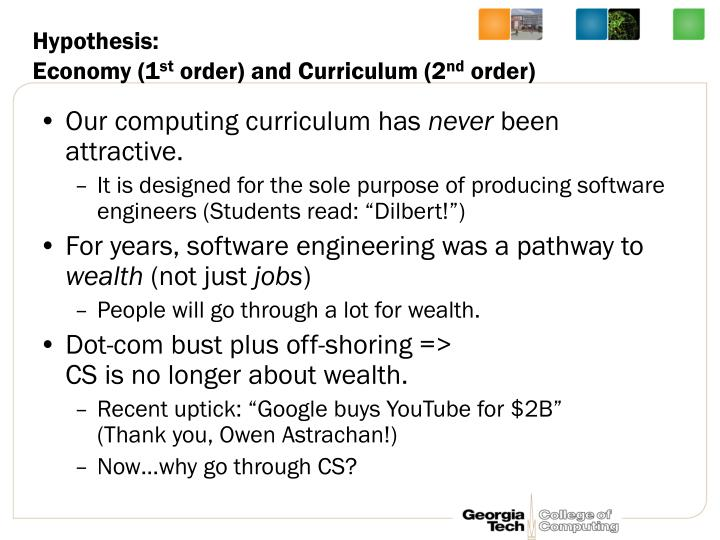 Hypothesis economy 1 st order and curriculum 2 nd order