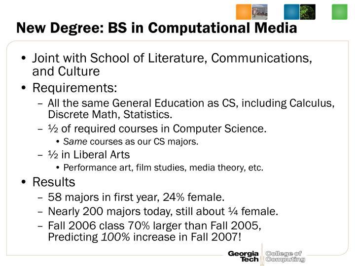 New Degree: BS in Computational Media
