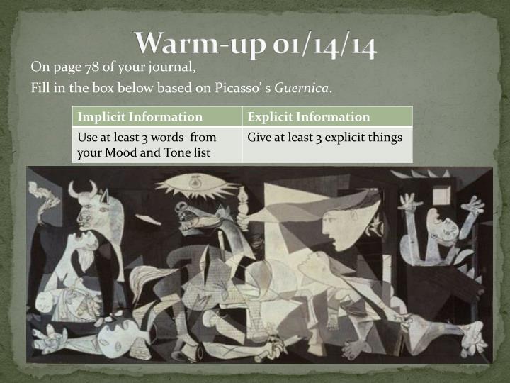 Warm up 01 14 14