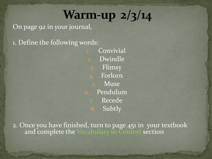 Warm-up  2/3/14