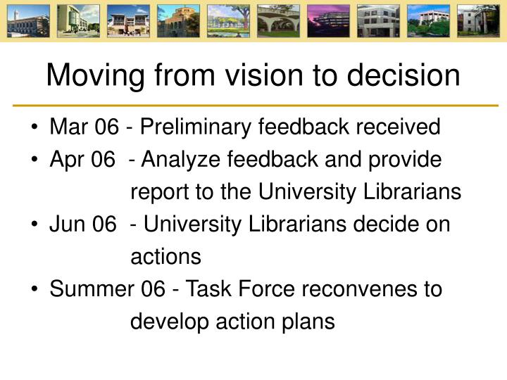 Moving from vision to decision