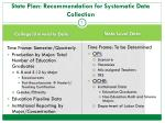 state plan recommendation for systematic data collection