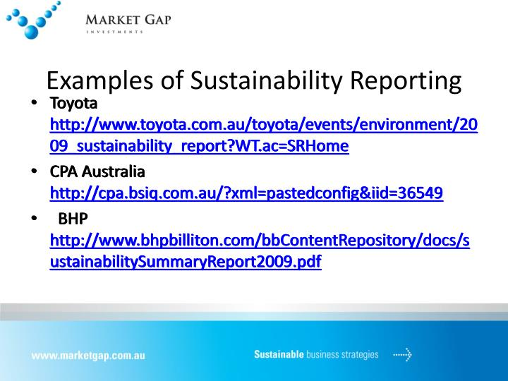 Examples of Sustainability Reporting