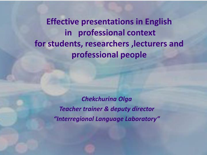 Effective presentations in English
