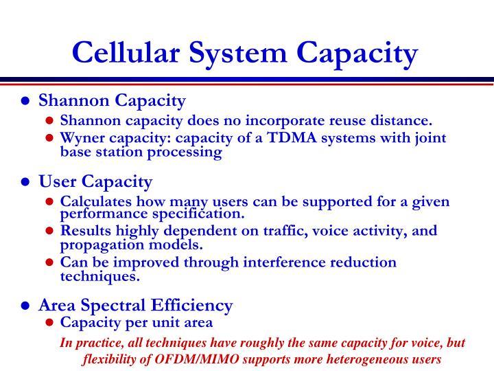 Cellular system capacity