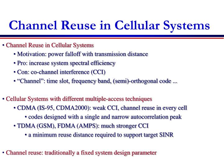 Channel Reuse in Cellular Systems